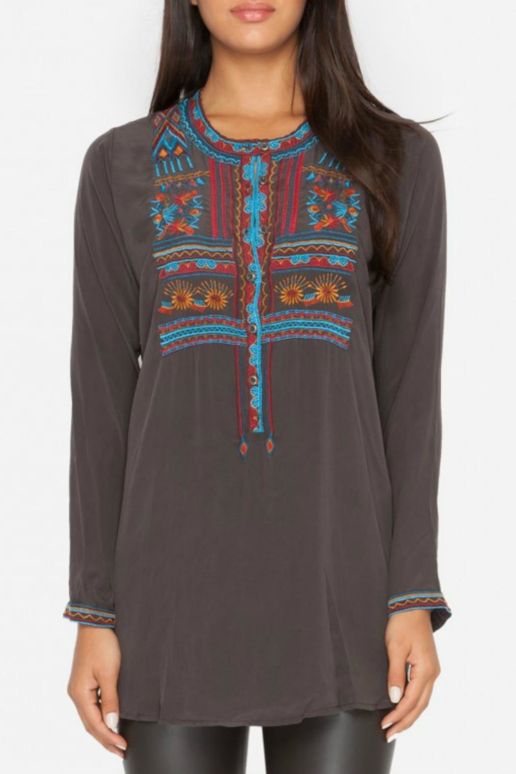 Johnny Was Grey Silk Embroidered Blouse - Main Image