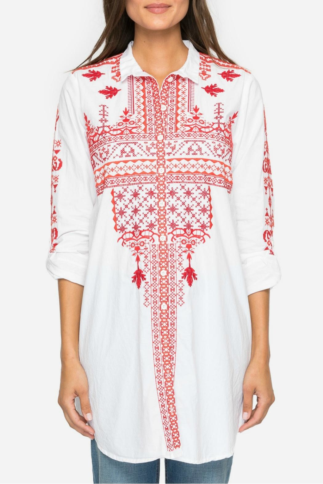 Johnny Was Embroidered Tunic Shirt - Front Cropped Image