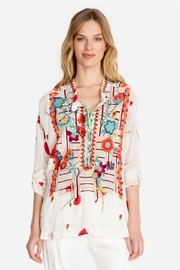 Biya by Johnny Was Embroidered Silk Blouse - Product Mini Image