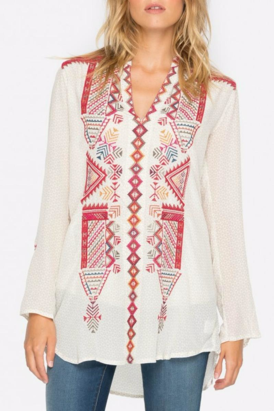 Biya by Johnny Was Embroidered Silk TunicTop - Main Image
