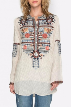 Biya by Johnny Was Embroidered Silk Tunic Top - Alternate List Image