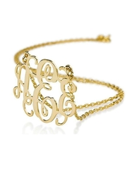 Bjoux Gold Monogram Necklace - Front cropped