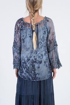 BK Moda Blue Floral Blouse - Alternate List Image