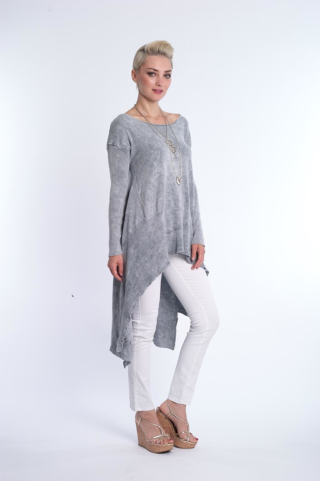 BK Moda High Low Mineral Wash Tunic - Front Full Image
