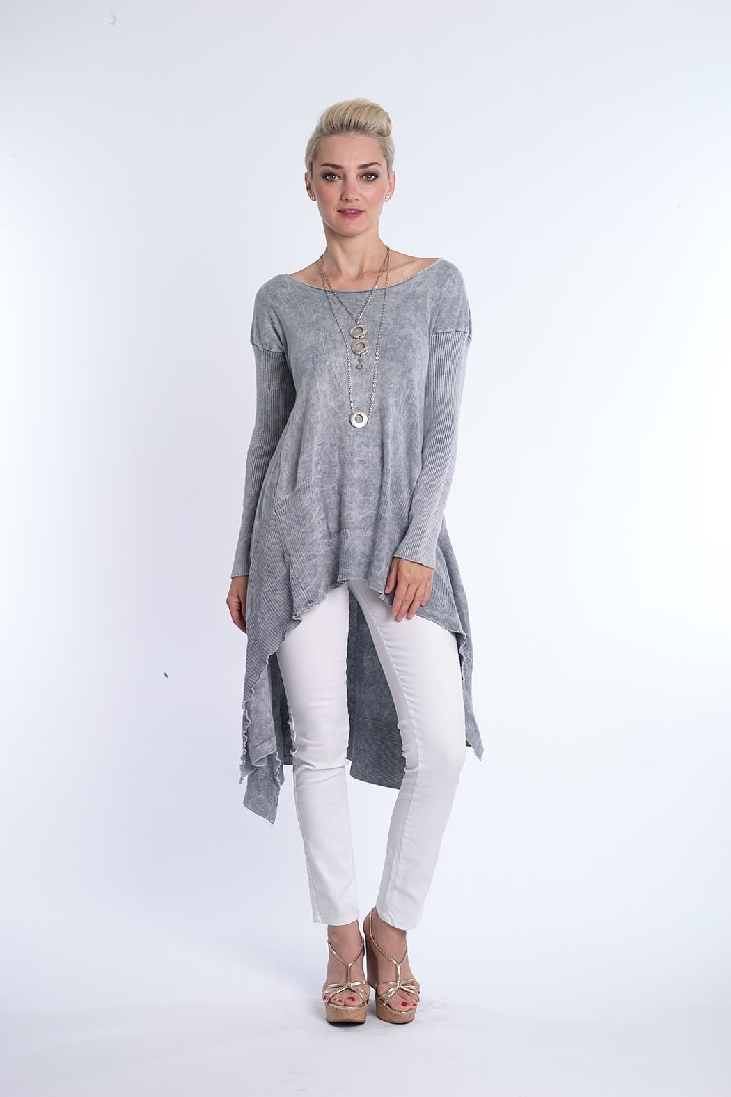 BK Moda High Low Mineral Wash Tunic - Front Cropped Image