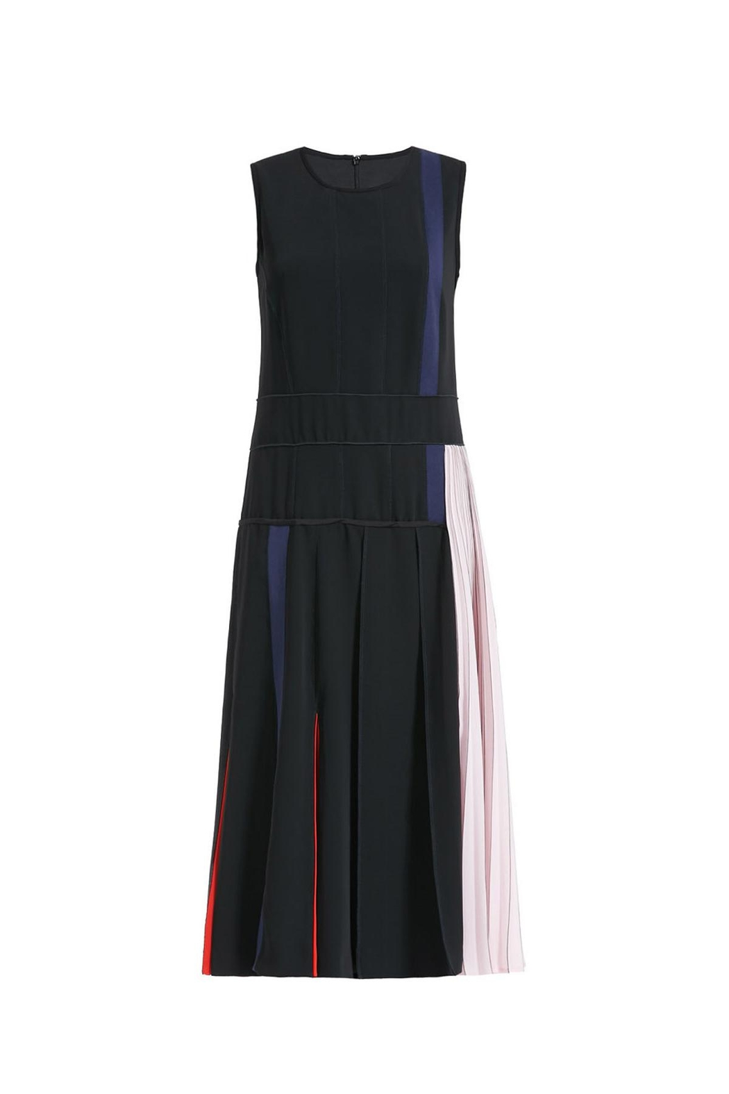 Sportmax Blaack Pleated Dress - Front Cropped Image