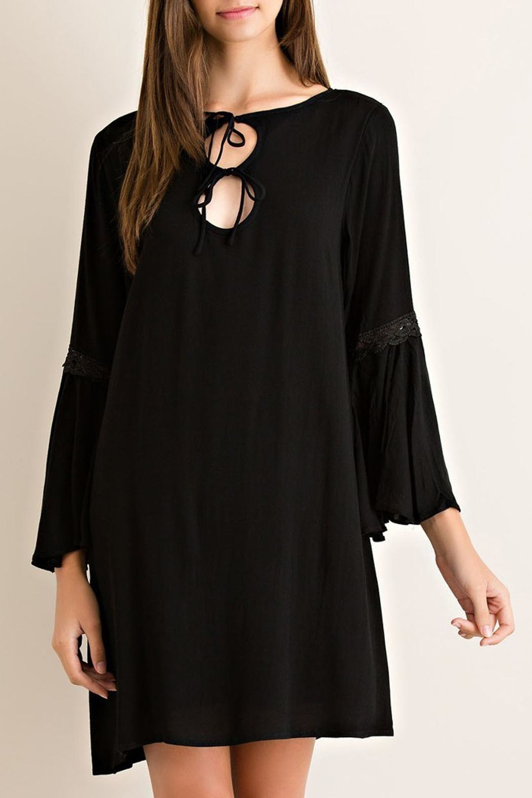 Entro Black 2-Keyhole Dress - Front Cropped Image
