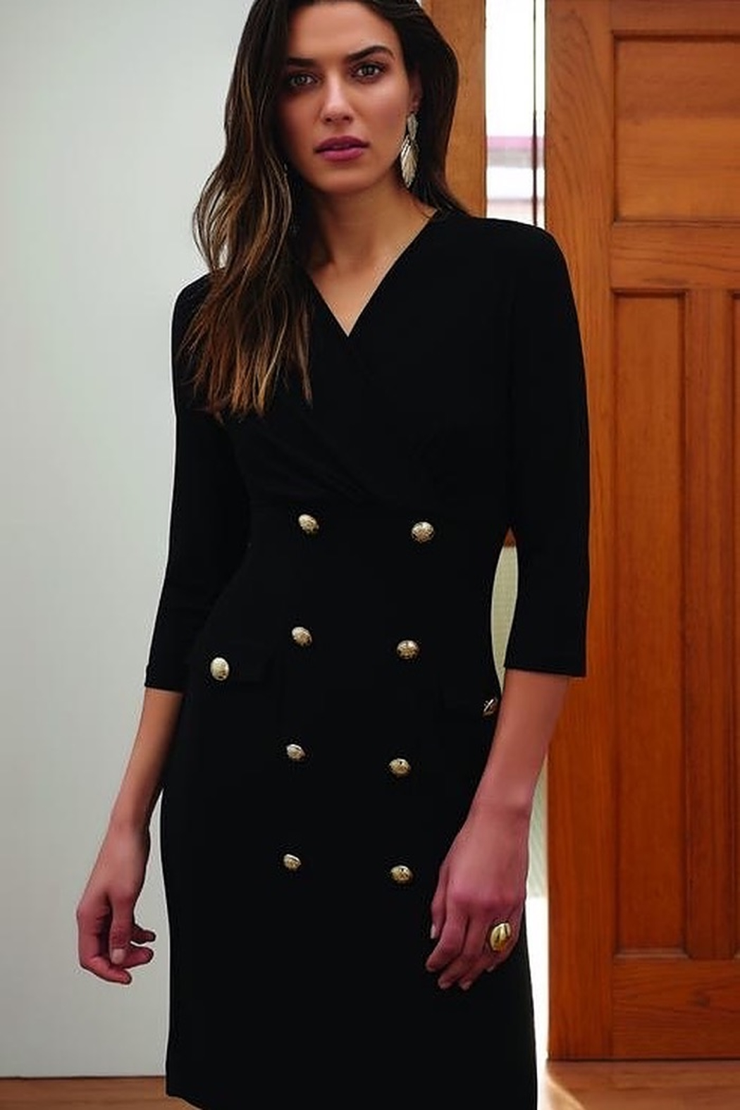 Joseph Ribkoff Black 3/4 sleeve dress  with gold buttons - Main Image