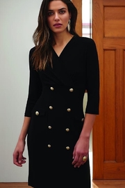 Joseph Ribkoff Black 3/4 sleeve dress  with gold buttons - Front cropped
