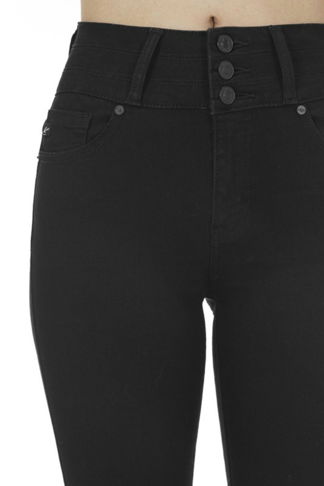 Kan Can BLACK 3 BUTTON HIGH RISE - Side Cropped Image