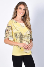 Frank Lyman Black abstract print on yellow fine chiffon overlay. Longer length yellow camisole top. - Front cropped