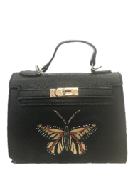 Urban Expressions Handbags & Accessories Black Alexis Crossbody With Hand Painted Butterfly - Product Mini Image