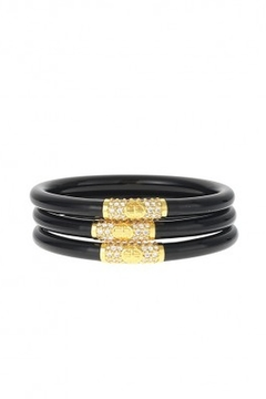 The Birds Nest BLACK ALL WEATHER SERENITY BANGLES - GOLD BEAD - Product List Image