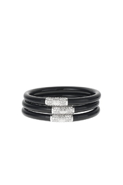 The Birds Nest BLACK ALL WEATHER SERENITY BANGLES - SILVER BEAD - Product Mini Image