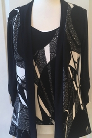 Joseph Ribkoff  Black and cream print open front cardigan - Product Mini Image