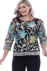 Parsley & Sage Black and embroidered floral tunic top - Product Mini Image