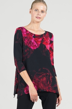 Clara Sunwoo Black and fuchsia red peony tunic - Product List Image