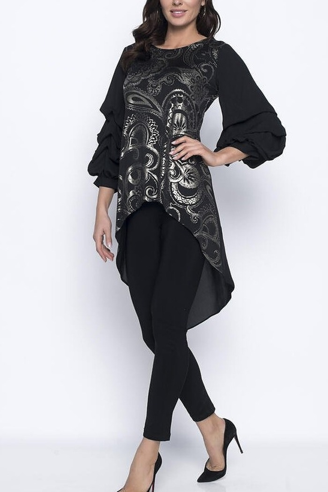 Frank Lyman Black and Gold High Low Tunic With Ruffle Sleeves - Main Image