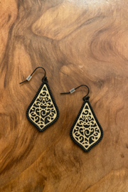 tesoro  Black and Gold Multi Dangle Earrings - Front cropped