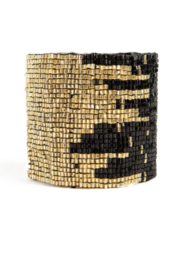 Ink + Alloy Black And Gold Stretch Bracelet - Product Mini Image