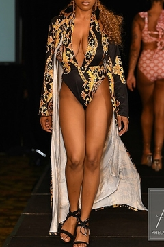 Tiny House of Fashion Black and Gold Swimsuit Set - Product List Image