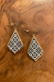tesoro  Black and Gold Wood Print Earrings - Product Mini Image