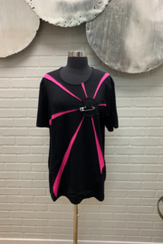 NY 77 Design Black and Pink Starburst top with Safty Pin - Product Mini Image