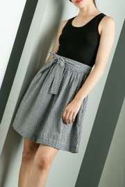 THML Clothing Black and White A-Line Dress with Side Tie - Product Mini Image
