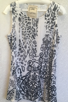 Vintage Concept Black and white animal print tank with scroll - Alternate List Image