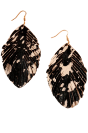 avenue zoe  Black and White Leather Earring - Front cropped