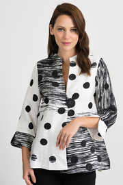 Joseph Ribkoff Black and White light weight jacket topper - Product Mini Image