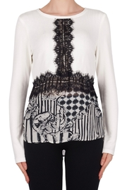 Joseph Ribkoff black and white long sleeve top with lace detail - Product Mini Image