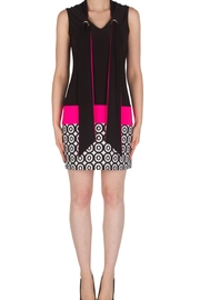 Joseph Ribkoff Black and white neon pink dress - Front cropped