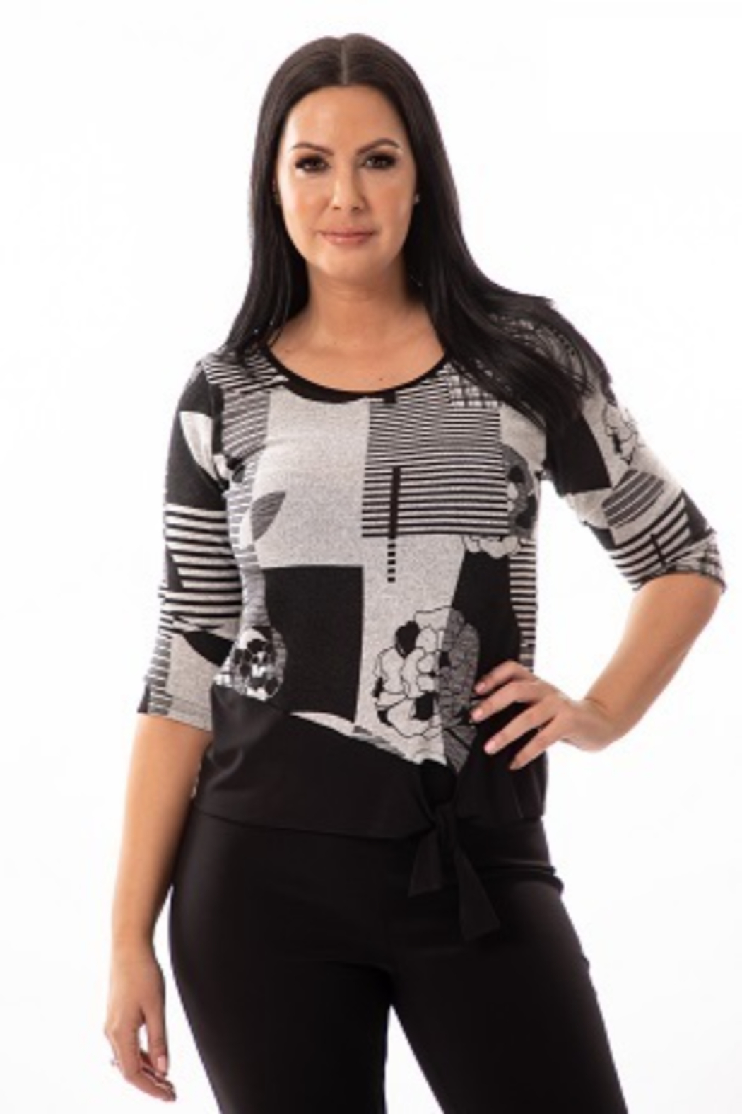 Bali Corp Black and White Printed Top - Front Cropped Image
