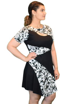 Artex Black and white printed dress. Short sleeves. Knee length. - Product List Image