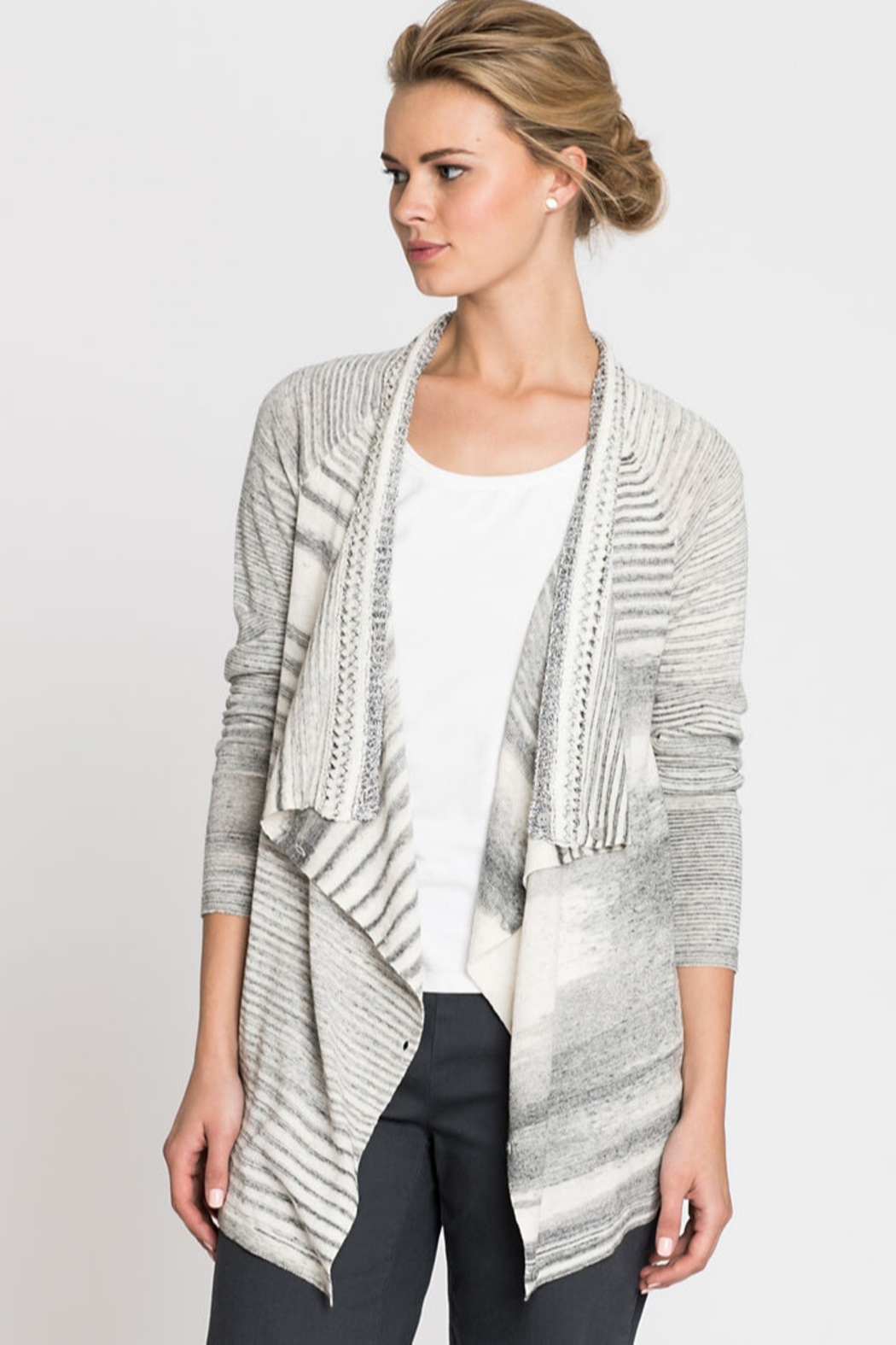 Nic + Zoe  Black and white stripe cardigan - Front Full Image