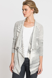 Nic + Zoe  Black and white stripe cardigan - Front full body