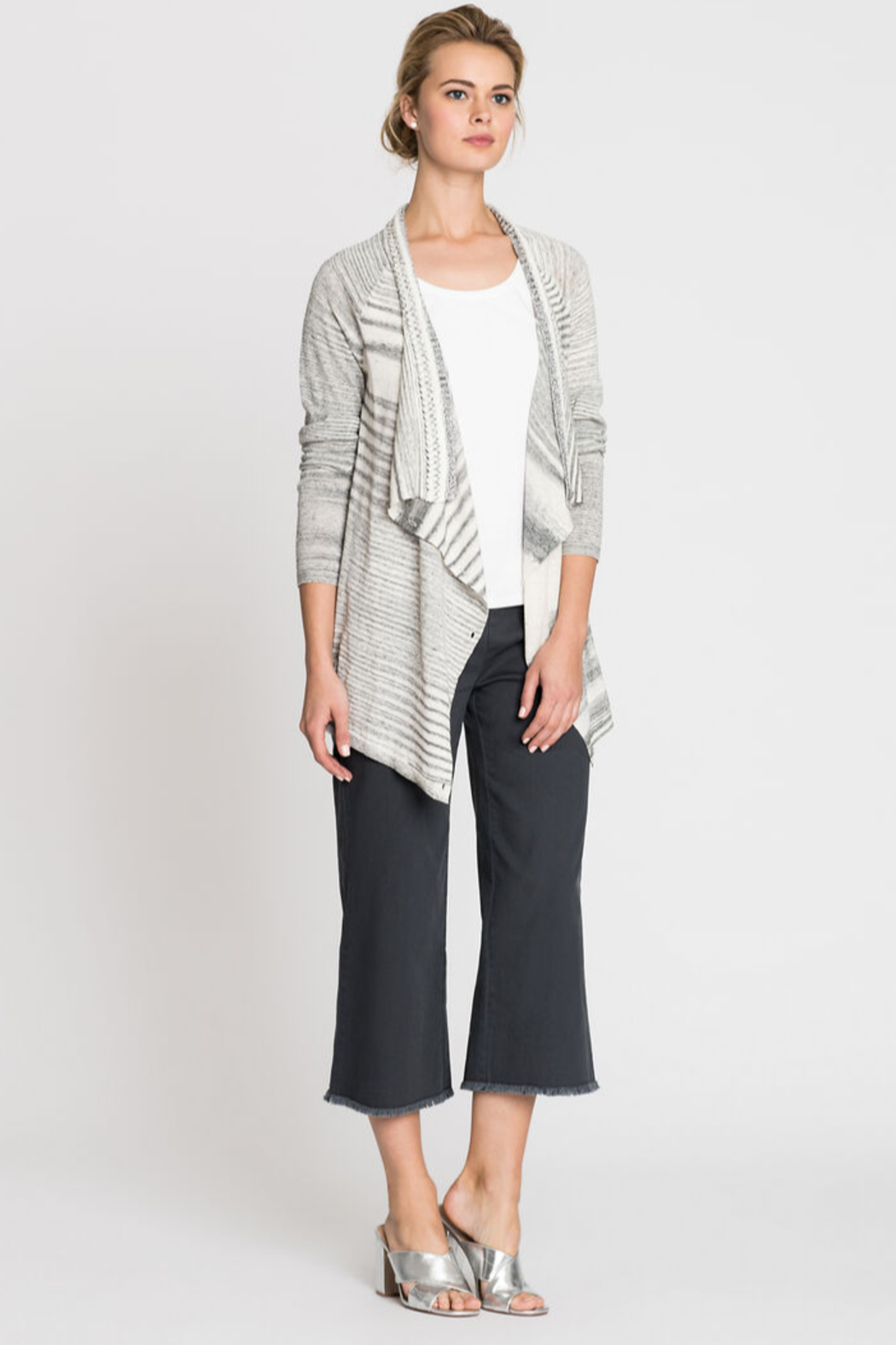 Nic + Zoe  Black and white stripe cardigan - Main Image