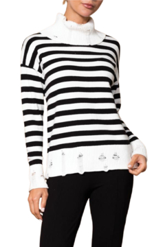 Shoptiques Product: Black and White Striped Distressed Sweater