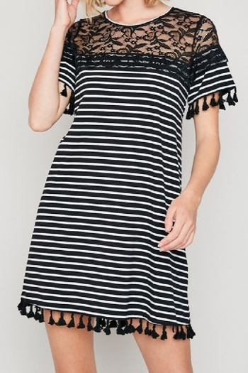 Hayden Black and white striped knit dress with lace and fringe trim from Colorado by Back In Love —