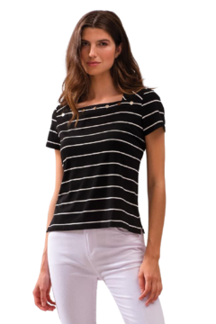Alison Sheri Black and White Striped Tee - Product List Image