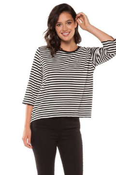 Black Tape Black and White Striped Top - Product List Image