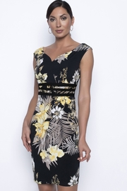 Frank Lyman Black and yellow flower cocktail dress - Product Mini Image