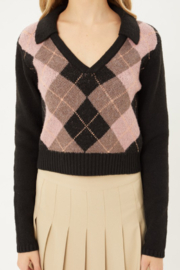 Love Tree Black Argyle Pattern Collared Sweater Top - Product Mini Image