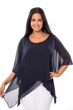 Bali Corp. Black Asymmetrical Overlay Tunic Top - Product List Image