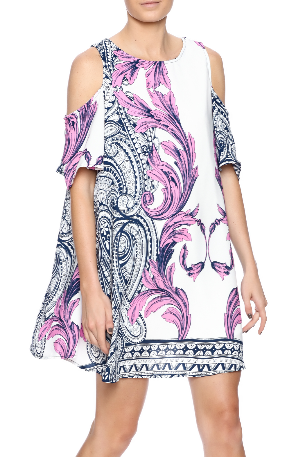 Black Bead Purple Paisley Dress - Front Cropped Image