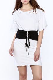Black Bead White T-Shirt Dress - Product Mini Image