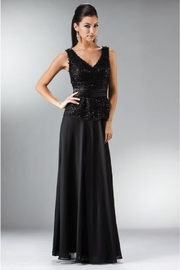 Cinderella Divine Black Beaded Lace Sheath Formal Dress - Front cropped