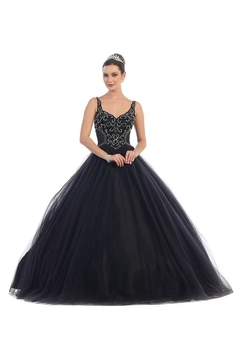 May Queen  Black Beaded Long Formal Ball Gown - Product List Image