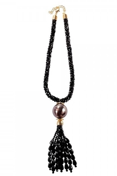 """Shoptiques Product: Black beaded necklace with tassel - 16"""""""
